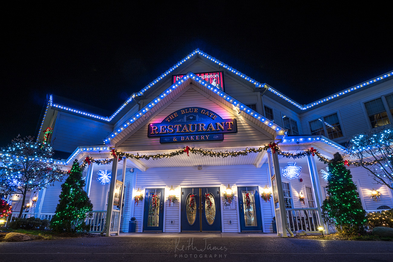 Night Photography: The Blue Gate Restaurant & Baker in Shipshewana, Indiana