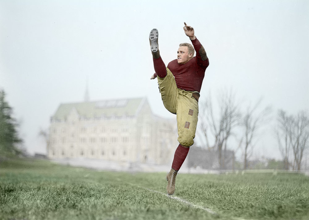Chuck Darling, Boston College, 1924 (after restoration & colorization)