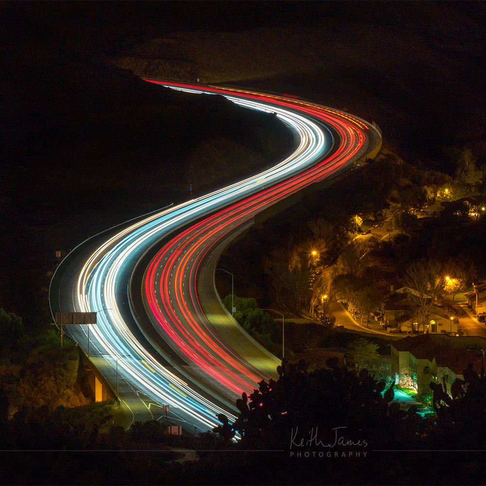 Night Photography: Long Exposure of Traffic on the Conejo Grade, Camarillo, California