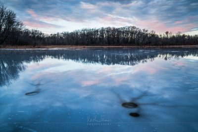 Landscape Photography: Ice Fishing Holes at Meteer Lake in Howe, Indiana