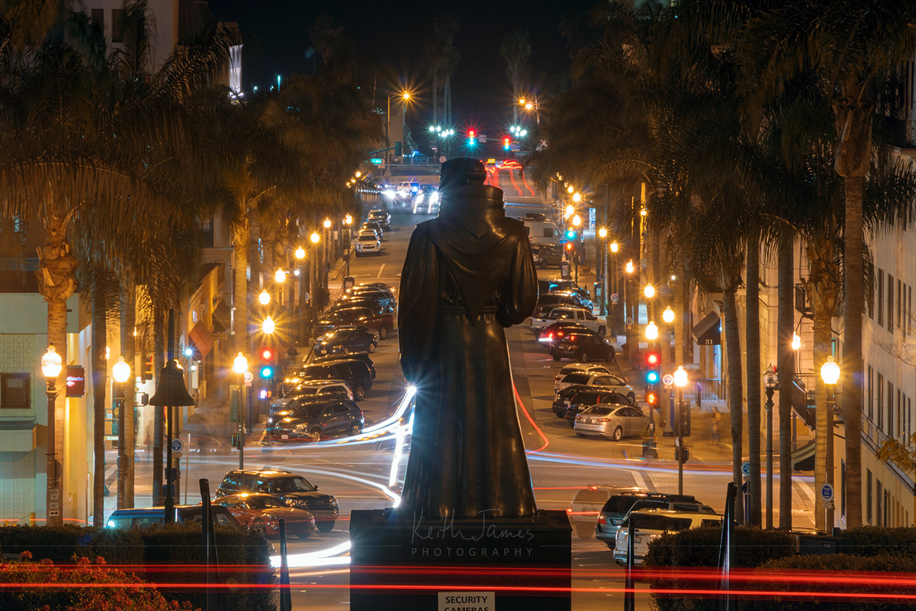 Night Photography: Padre Serra above California St. in Ventura, California