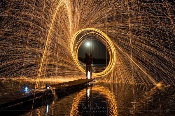Night Photography: Spinning Steel Wool with a Full Moon