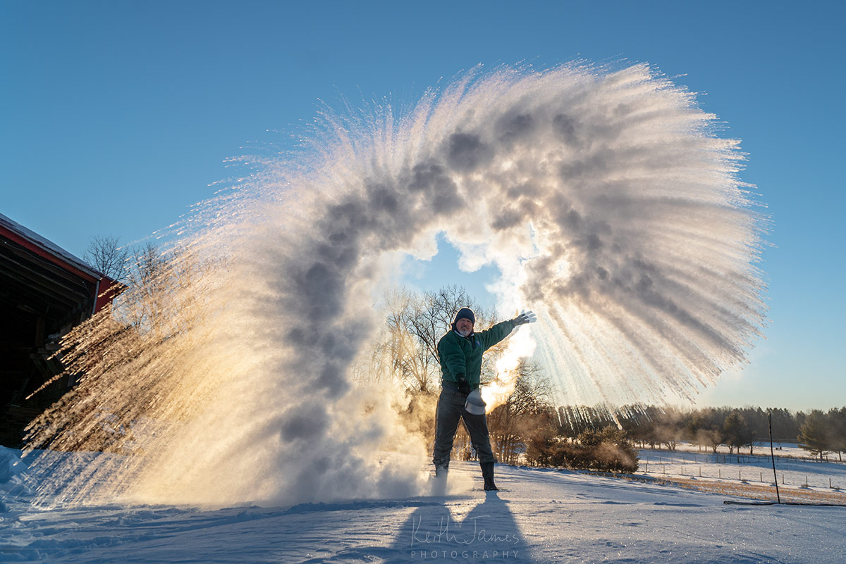 Frozen: A man throws a pot of boiling water in sub-zero temperatures.
